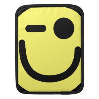 Yellow Winking Smiley Face iPad Sleeves