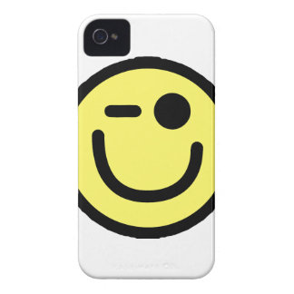 Yellow Winking Smiley Face iPhone 4 Cover