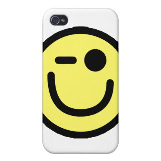 Yellow Winking Smiley Face iPhone 4 Case