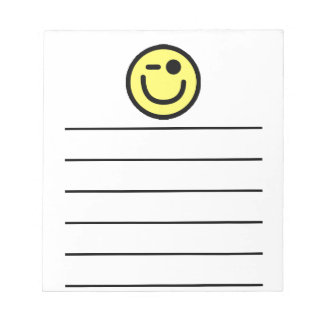 Yellow Winking Smiley Face Notepad