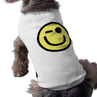 Yellow Winking Smiley Face Pet T Shirt