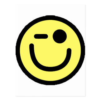 Yellow Winking Smiley Face Postcard