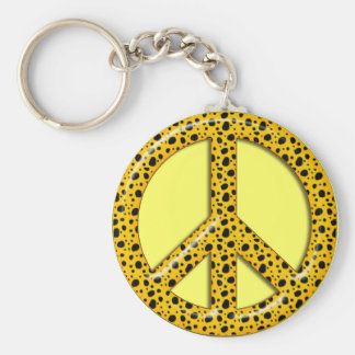 YELLOW WITH BLACK SPOTS PEACE SIGN KEYCHAIN