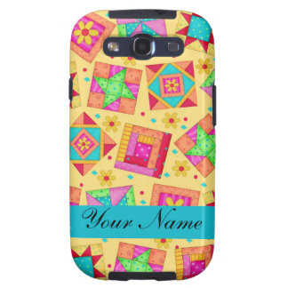 Yellow with Colorful Quilt Blocks & Personalized Samsung Galaxy S3 Case