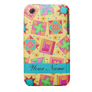 Yellow with Colorful Quilt Blocks & Personalized Case-Mate iPhone 3 Case