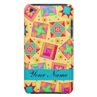 Yellow with Colorful Quilt Blocks & Personalized iPod Touch Cover