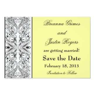 Yellow with Decorative Side Panel Save the Date Announcements