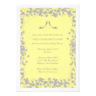 Yellow with Gray Heels Bridal Shower Invitation