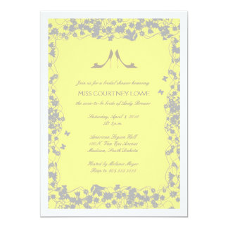 "Yellow with Gray Heels Bridal Shower Invitation 5"" X 7"" Invitation Card"