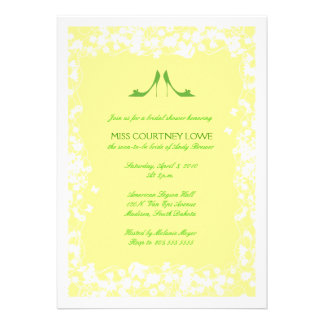Yellow with Green Heels Bridal Shower Invitation