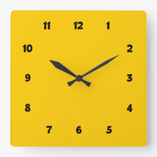 Yellow with Numbers Square Wall Clock