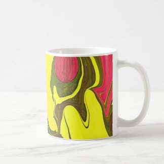 Yellow with olive & red accents abstract art mug