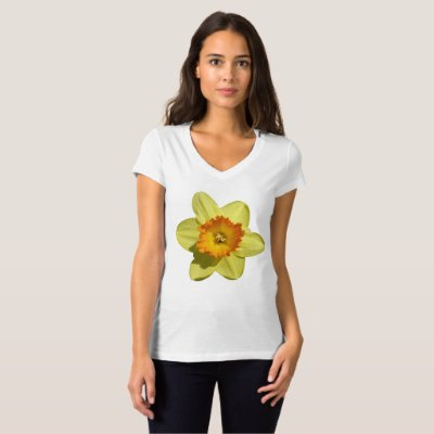 Yellow with Orange Daffodil V-neck T-shirt