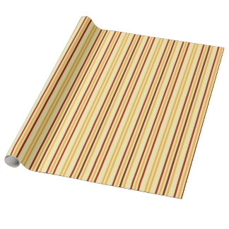 Yellow With Orange Stripes Pattern Wrapping Paper
