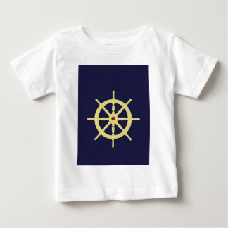 Yellow with Red Ship Helm in Navy Blue Background. Baby T-Shirt