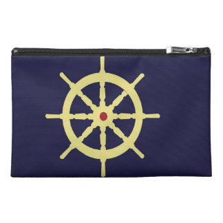 Yellow with Red Ship Helm in Navy Blue Background. Travel Accessory Bags