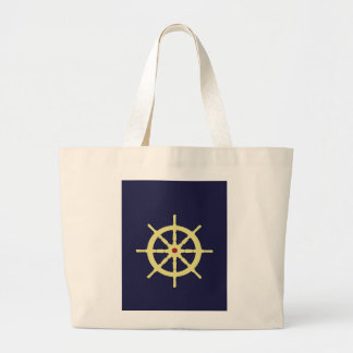 Yellow with Red Ship Helm in Navy Blue Background. Canvas Bags