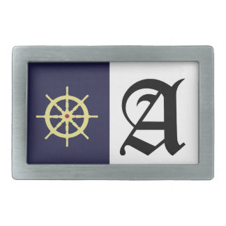 Yellow with Red Ship Helm in Navy Blue Background. Belt Buckle