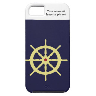 Yellow with Red Ship Helm in Navy Blue Background. iPhone 5 Cover