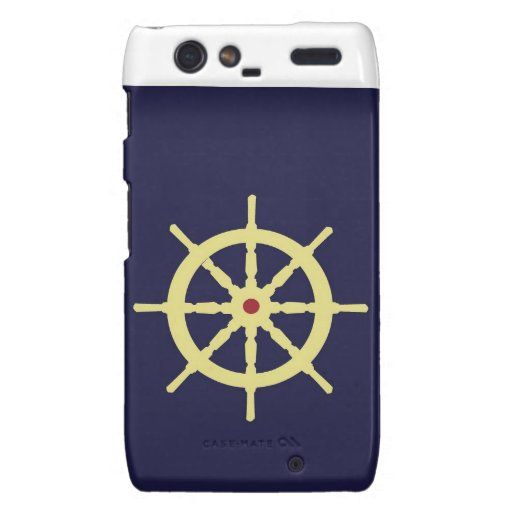 Yellow with Red Ship Helm in Navy Blue Background. Motorola Droid RAZR Cases
