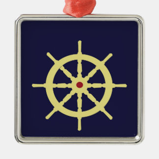 Yellow with Red Ship Helm in Navy Blue Background. Metal Ornament