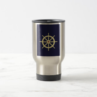 Yellow with Red Ship Helm in Navy Blue Background. Mugs