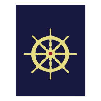 Yellow with Red Ship Helm in Navy Blue Background. Postcard