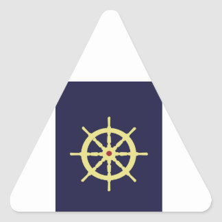 Yellow with Red Ship Helm in Navy Blue Background. Triangle Sticker