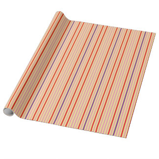 Yellow With Red Stripes Pattern Wrapping Paper