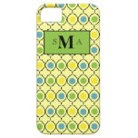 Yellow with teal, green & yellow dots & monogram iPhone 5 covers