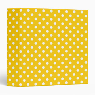 Yellow with white polka dots 3 ring binder