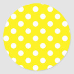 Yellow with White Polka Dots Classic Round Sticker