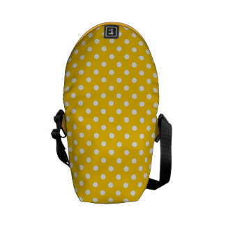Yellow with white polka dots courier bag