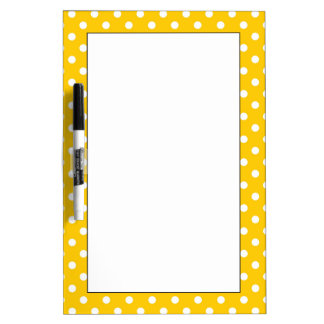 Yellow with white polka dots Dry-Erase board