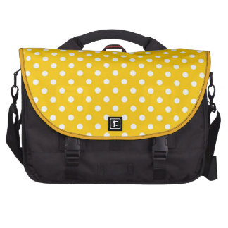 Yellow with white polka dots computer bag