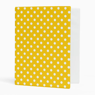 Yellow with white polka dots mini binder