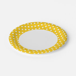 Yellow with white polka dots paper plate