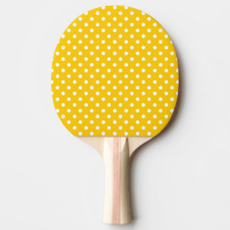 Yellow with white polka dots Ping-Pong paddle