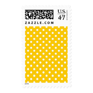 Yellow with white polka dots postage