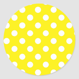 Yellow with White Polka Dots Round Sticker