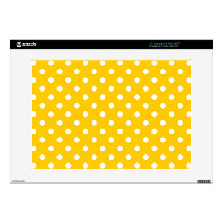 """Yellow with white polka dots skins for 15"""" laptops"""