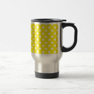 Yellow with White Polka Dots Travel Mug