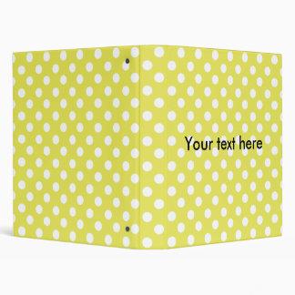 Yellow with white polkadots 3 ring binder