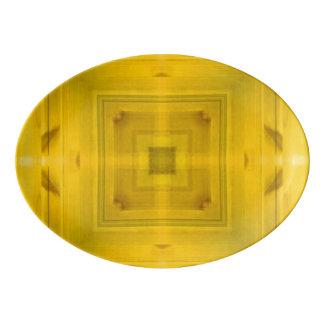 Yellow Wood Pattern Porcelain Serving Platter