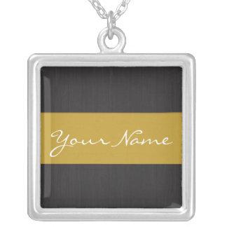 Yellow & Woodgrain Customizable Name Necklace