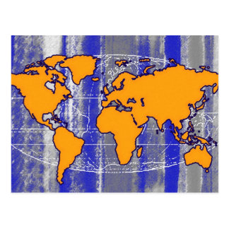 yellow world map postcard