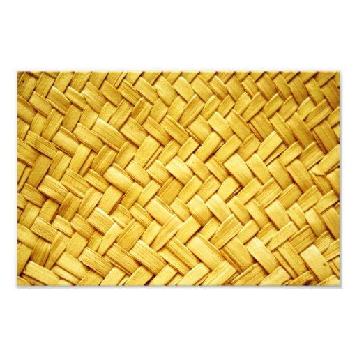 Yellow woven straw texture photographic print