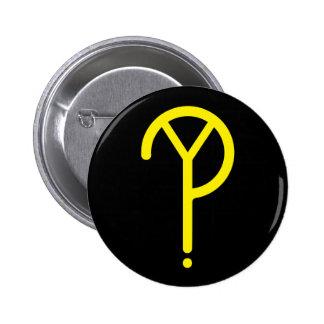Yellow Y? Symbol- On Black Button
