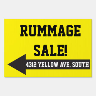 Yellow Yard Rummage Tag Lawn Garage Move Sale Sign