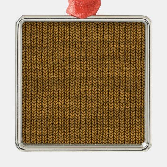 yellow yarn textured metal ornament